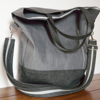 Grey Tote bag Modern Cross body Messenger hand strap adjustable strap Canvas casual everyday Tote