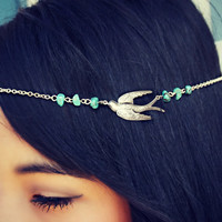silver chain head piece, chain headband, bird headband, metal headband, unique headband