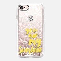 Hello Sunshine - yellow typography, white lace, transparent iPhone 7 Case by Micklyn Le Feuvre | Casetify