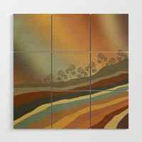 Abstract Retro Landscape 01 Wood Wall Art by vivianagonzlez