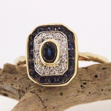 Vintage Sapphire Ring Art Deco Ring 14k Yellow Gold Ring Diamond Halo Ring Cocktail Ring Gemstone Ring Estate Ring Promise Ring Size 7.25