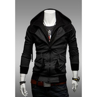 Double-Zip Design Hooded Spring Sweatshirt