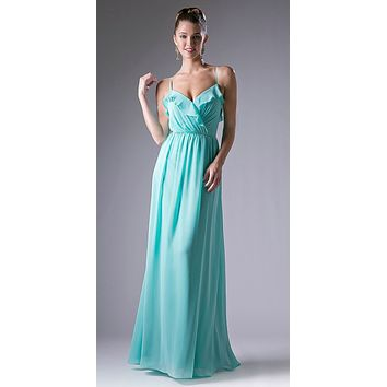 Mint Ruffled V-Neck A-Line Long Formal Dress Spaghetti Strap