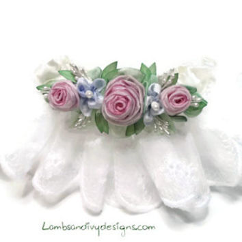 Wedding Garter Ribbonwork Flowers  Vintage Lace Garter Christening Pin Handmade Roses