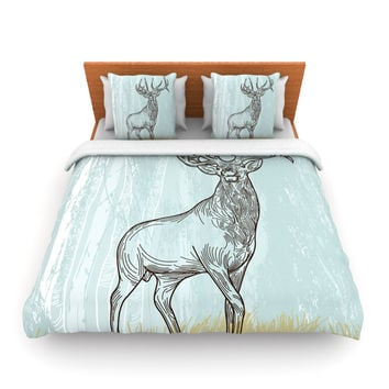"Sam Posnick ""Elk Scene"" Queen Fleece Duvet Cover - Outlet Item"