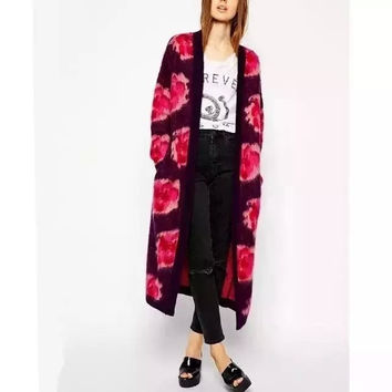Purple Floral Print  Long Sleeve Pocket Long Coat