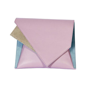 Lilac Leather and Seude Geometric Bag