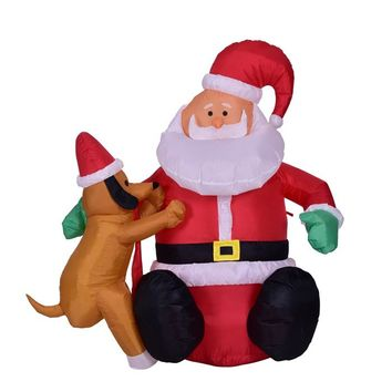 4 Feet Christmas Inflatable Santa with Puppy Dog for Holiday Home Decoration Indoor or Outdoor