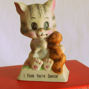 Vintage CAT Figurine.....housewares. cat lover. i think you are special. retro. vintage cat. kitty. kitsch. 1970s home. vintage home. russ