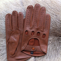 Men's Driving Gloves Deerskin Leather Yellow Black White Tan Cognac Brown Color