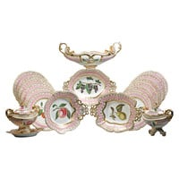 English Porcelain Fruit Service, Chamberlain Worcester, circa 1820