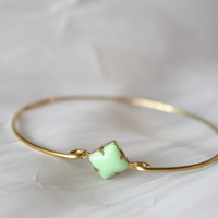 Mint Green Charm Bangle in Brass by HandmadebyNinaRae on Etsy