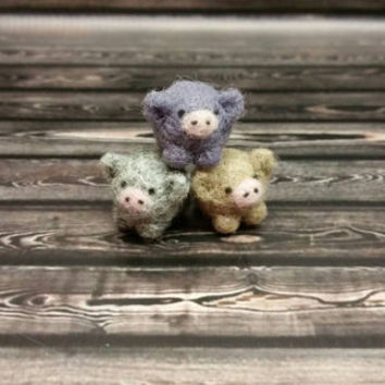 Three Little Pigs - Micro Popcorn Piggies - Needle Felting Sculpture - Felted Pig - Soft Animal - Handmade Art