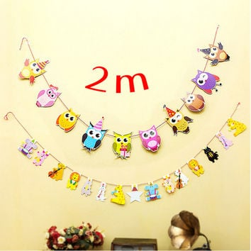 1 Set Cartoon Owl Animals Family Baby Garland Striped Paper Flags Banner Home Decor Birthday Party Supplies For kids