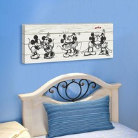 Disney Mickey Mouse & Friends Barnwood Kissing 12'' x 36'' Canvas Wall Art (Red)