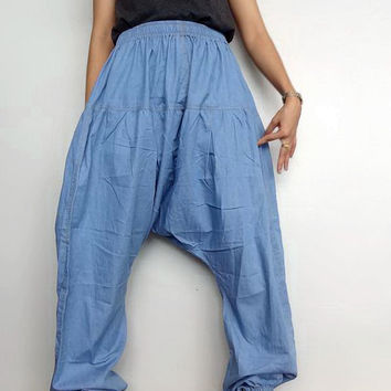 Harem Pants, Genie Drop Crotch Unique Style Boho,Cotton Denim Lightweight Medium blue (pants-14).