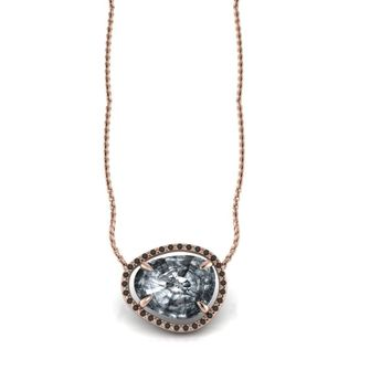 14K Rose Gold Necklace Irregular Rose Cut Rutilated Tourmalinated Quartz Black Diamonds Halo