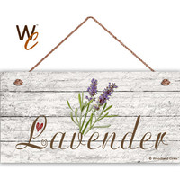 "Lavender Sign, Garden Sign, Rustic Decor, Herb on Distressed Wood, Weatherproof, 5"" x 10"" Sign, House Gift, Gift For Gardener, Made To Order"