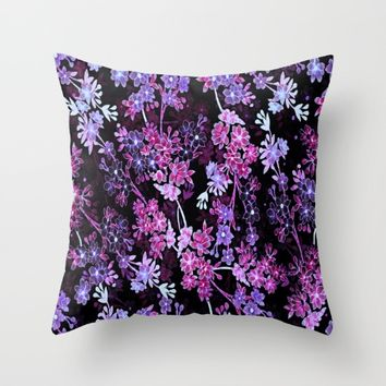 Pink & Purple Floral Pattern Throw Pillow by WhimsyRomance&Fun