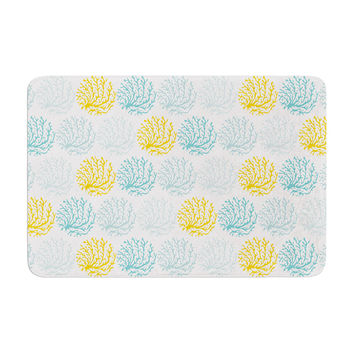 "Anchobee ""Coralina"" Teal Yellow Memory Foam Bath Mat"