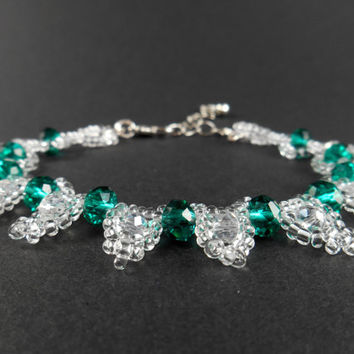 Emerald Green Crystal Bracelet Dark Green Bracelet Glass Crystal Bracelet Seed Bead Bracelet Clear Beaded Glass Crystal Jewelry