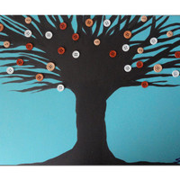 Teal Button Tree Art by SamIamArt