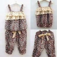 Girls Summer Leopard Top and Pants Set