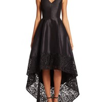 Theia - Sleeveless High-Low Lace Gown