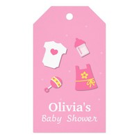 Elegant Modern Pink Baby Girl Shower Party Tags Pack Of Gift Tags