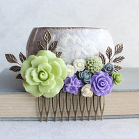 Light Green Rose Comb Purple and Green Wedding Bridal Hair Comb Flowers for Hair Wedding Hair Piece Grey and Lavender Apple Lime Green