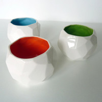 Modern ceramic cup handmade in polygons - Poligon Cup - Green