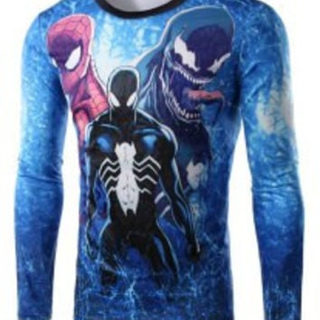 Blue Spider-Man and Venom Print Long Sleeve T-Shirt