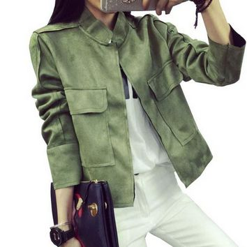 New Retro Suede Casual Jacket Women All-Match Military Green Cardigan Coat 6 Colors Chaquetas Mujer S~L