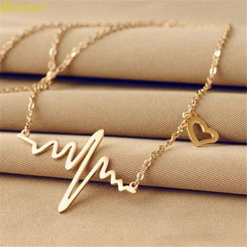 Diomedes Newest Gorgeous Necklace Women New Women Necklace Heartbeat Rhythm with Love Heart Shaped Necklace Collar Gothic Choker