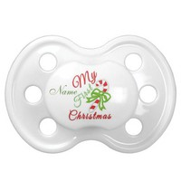 """Baby's First Christmas"" CUSTOMIZABLE Pacifier BooginHead Pacifier"