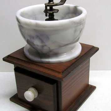 Vintage Coffee Grinder made out of Marble, Wood, and Metal