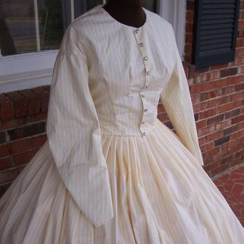 Yellow & White Striped Civil War Day Dress**24