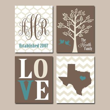 FAMILY Wall Art, Canvas or Prints Married Couples Custom TREE Birds Chevron STATE Monogram Love Est Date Custom Wedding Gift Set of 4 Decor