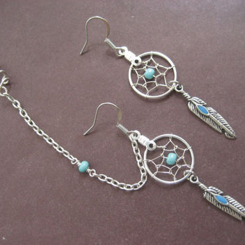 Turquoise Beaded Dream Catcher Asymmetrical Cartilage Helix Chain and Ear Cuff Dreamcatcher Earring Set Azeeta Designs