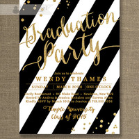 Gold & Black Graduation Party Invitation Gold Glitter Black and White Stripes Modern High School College DIY Digital or Printed- Wendy Style