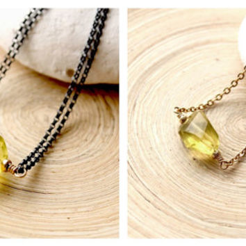 Lemon Yellow Quartz choker necklace, Gold filled necklace, Mixed metal necklace, Trends for 2015 in jewelry, Protective stone, Lucky stone