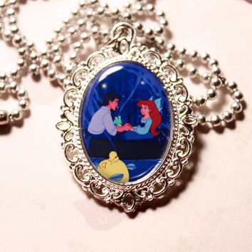 The Little Mermaid Kiss the Girl Ariel and Eric Boat Scene Cameo Necklace