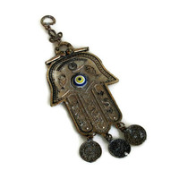 Large HAMSA amulet vintage pendant, Our lady of Fatima, talisman, dangling OTTOMAN TUGHRA medals, Hand of Miriam, Evil eye protection bead