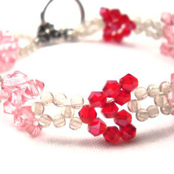 Heart Bracelet Pink and Red Hearts
