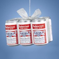 "1.75"" Budweiser® Vintage 6-Pack Cans with Glittered Silver Bow Decorative Christmas Ornament"