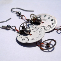 watch faces steampunk earrings by CraftyKikis on Etsy