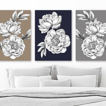 Navy Beige Gray Peony Flower Wall Art, Peony Flower Canvas or Print Black White Flowers Bedroom Wall Decor, Flower Bathroom Decor, Set of 3
