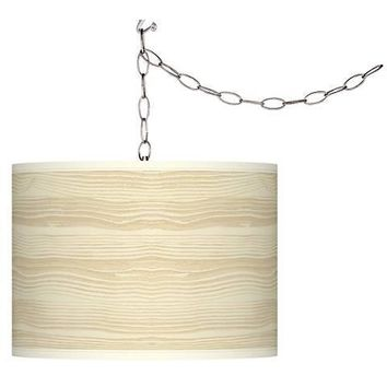 Birch Shade Swag Plug-In Pendant Chandelier