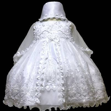 Baby Girl Toddler Christening Baptism Dress Gowns outfit set with bonnet /XS/S/M/L/XL/0-3M/3-6M/6-12M/12-18M/18-24M/XSMALL/SMALL/MEDIUM/LARGE/XL/2t/#5604
