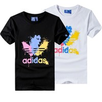"""Adidas"" Unisex Fashion Casual Multicolor Gush Ink Clover Letter Print Short Sleeve T-shirt Couple Shirt Top Tee"
